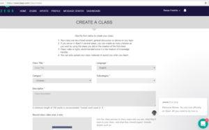 zeqr create a class screen 1