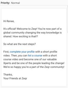 zeqr welcome screen