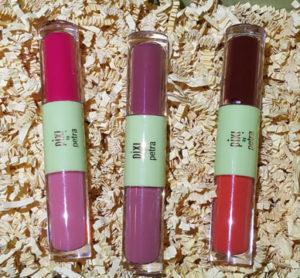 Pixi GelTint & SilkGloss in (l to r) PinkTint & PrettyGloss, BerryTint & SweetGloss, and BeachTint & FreshGloss