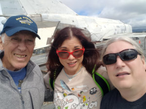 Jerry and I with one of the fantastic docents, who served aboard an aircraft carrier like the Hornet