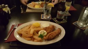 Fish 'n' chips at Crown and Anchor in Monterey