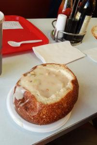 Clam chowder in a sourdough bread bowl at Pier 39