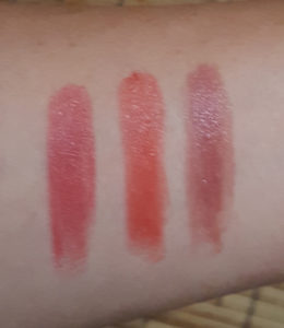 Pixi MatteLustre Lipstick swatches, L to R: Bitten Rose, Peach Blossom, Rose Naturelle