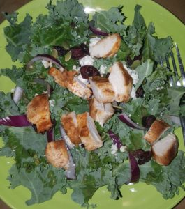Tolerable kale salad- I was out of tomatoes (too bad I couldn't have been out of kale...lol)