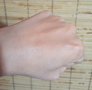Swatch of FlowerColor Natural Liquid Foundation in Tan