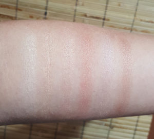 Eyeshadow swatches, l to r: Veil, Honeymoon, Fairy Tale, Passion, Lace, Swoon